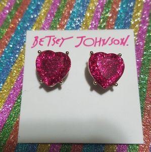 Betsey Johnson Heart Earrings. Sparkly & Pretty!